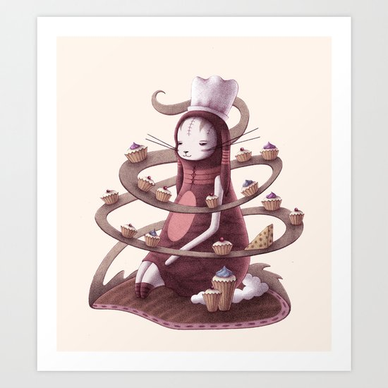Bunny with Cupcakes and Cheese Art Print