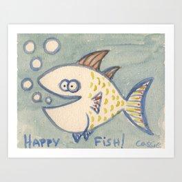 Happy Fish! in yellow and orange Art Print