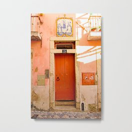 Coral Orange Door in the Alfama, Lisbon, Portugal Metal Print