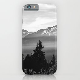 Morning in the Mountains Black and White iPhone Case