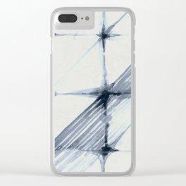 Simply Wabi-sabi in Indigo Blue on Lunar Gray Clear iPhone Case