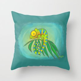 Colorful Chameleon! Throw Pillow