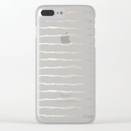 Simply Wavy Lines in White Gold Sands on White Clear iPhone Case