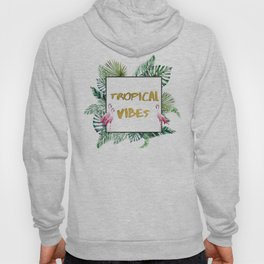 Aloha - Tropical Vibes Typography with Palm Leaves and Flamingo Hoody