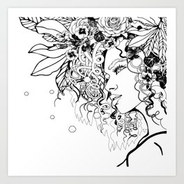 With Flowers in Her Hair No. 5 Art Print
