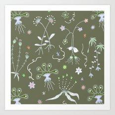 Moss Green Flora Art Print