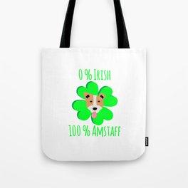 0 Percent Irish 100 Percent Amstaff Dog Lovers St. Patrick's Tote Bag