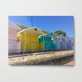 Rainbow Beach Huts Metal Print