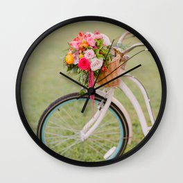 Bicycle Blooming / Fine Art Film Photography Wall Clock