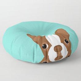 Red Boston Terrier Floor Pillow