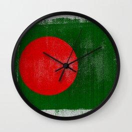 Bangladesh Distressed Halftone Denim Flag Wall Clock