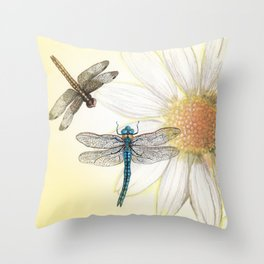 Dragonfly Daisy Throw Pillow
