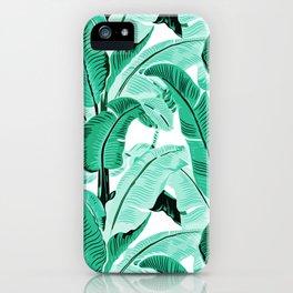 jungle leaf pattern mint iPhone Case