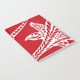Retro Red Chic Polynesian Tribal Geometric Graphic Floral Tattoo Notebook