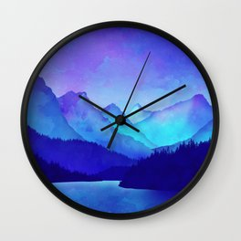 Cerulean Blue Mountains Wall Clock