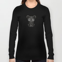 Cute Baby Black Panther Cub Wearing Glasses on Yellow Long Sleeve T-shirt