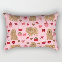 Pomeranian valentines day love hearts cupcakes pattern cute puppy dog breeds by pet friendly Rectangular Pillow