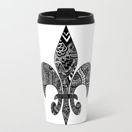 Fleur De Lis on White Travel Mug