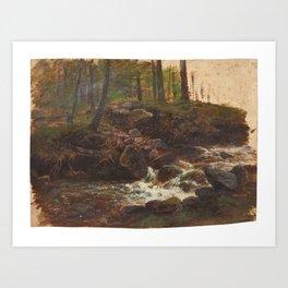 PIEPENHAGEN, CHARLOTTE Prague 1821 - 1902 Mountain Torrent in the Forest.PIEPENHAGEN, CHARLOTTE Prag Art Print
