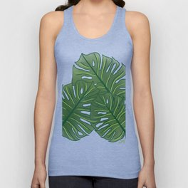 Large Monstera Leaf in Moss Green Unisex Tank Top