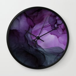Abstract Ink Painting Deep Purple Green Wall Clock