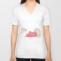 pig V-neck T-shirts featuring Pig by yael frankel