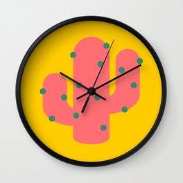 Bold pink cactus Wall Clock