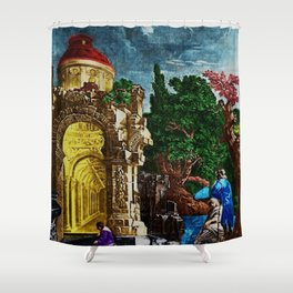 """""""Ruins of the Temple of Diana"""" Landscape Painting by Jeanpaul Ferro Shower Curtain"""