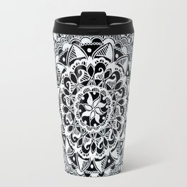 Silver Hand-Drawn Mandala on Black Background Travel Mug