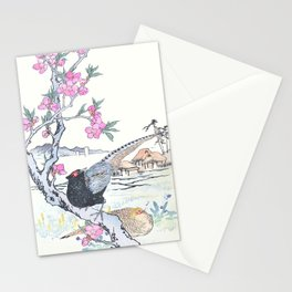 Kono Bairei - Pheasants and Blossomed Peach Tree - Vintage Japanese Woodblock Print Art  Stationery Cards