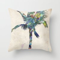 palm tree Throw Pillows featuring Palm Tree by Taylor Payne
