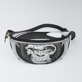 Black Space Monkey Fanny Pack
