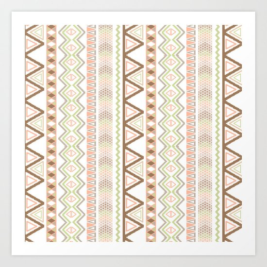Aztec Andes Pattern Pink Brown Abstract Geometric Art Print