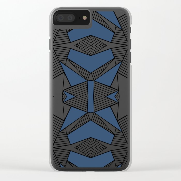 Triangle Tribal #2 Navy Clear iPhone Case