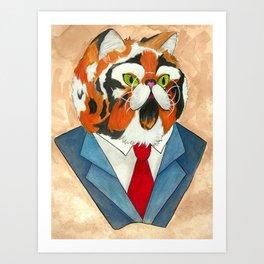 Fat Cat Banker Art Print