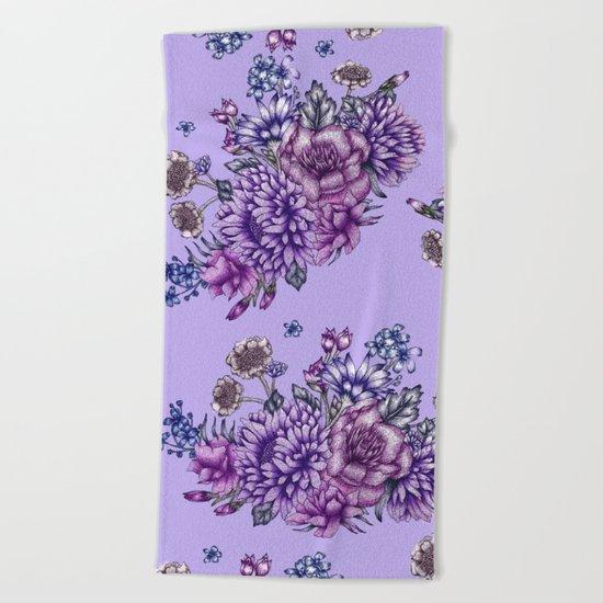 Vintage Purple Florals Beach Towel