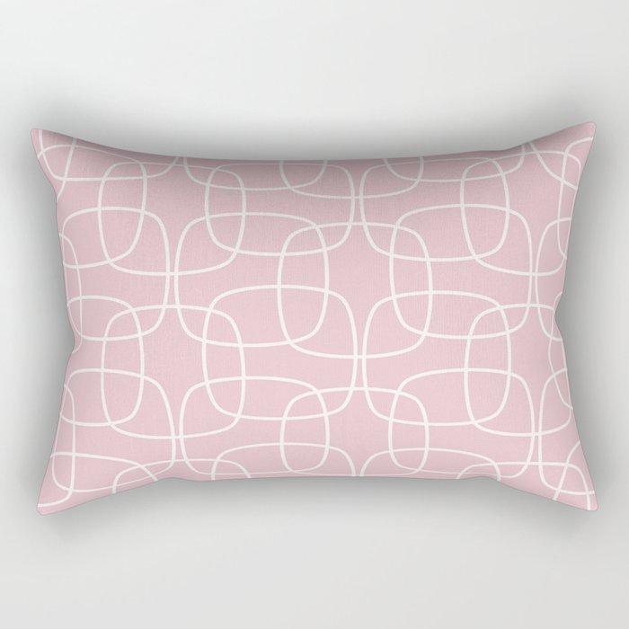 Square Pattern Pink Rectangular Pillow