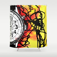 clock Shower Curtains featuring Clock by Anand Brai
