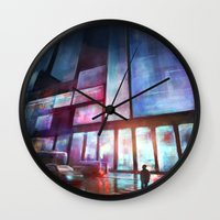 cityscape Wall Clocks featuring Cityscape by Laurens Spruit