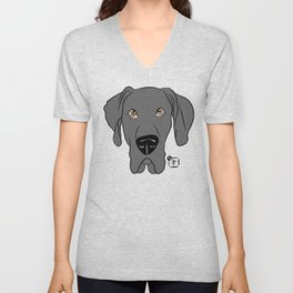 Blue Great Dane Face Unisex V-Neck