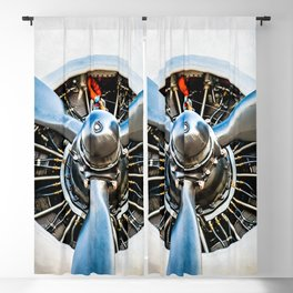 Legendary Vintage Aircraft Engine And Propeller On White Blackout Curtain