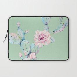Rose Desert Cactus Mint Green + Pink Laptop Sleeve