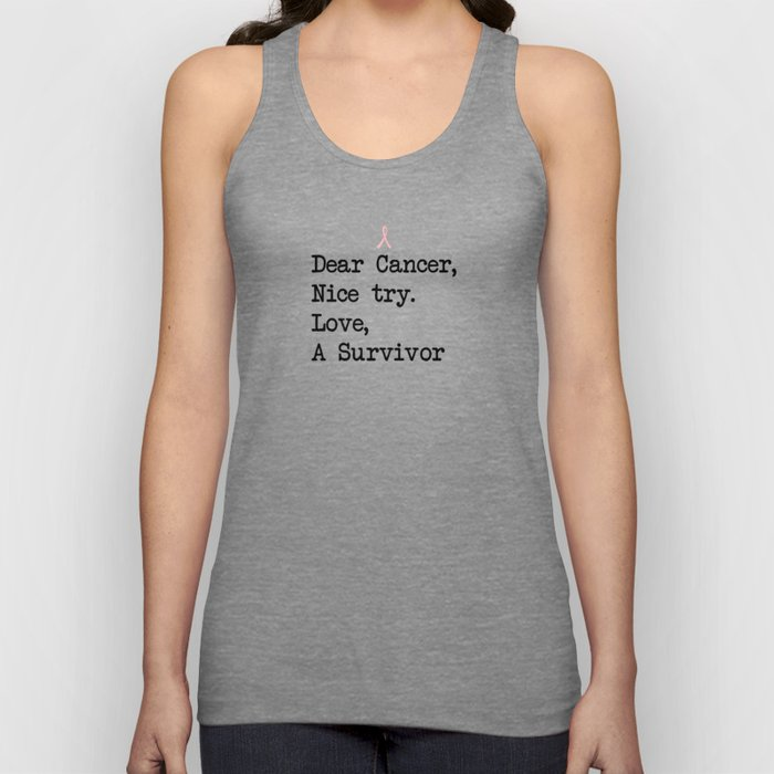 Nice Try, Cancer (Black Text) Unisex Tank Top