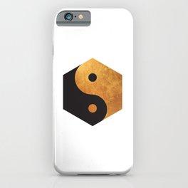 Yin Yang Geometrical Zen Meditation Yoga Gold Black Balance Minimalist   iPhone Case