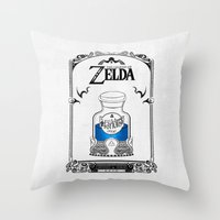 majora Throw Pillows featuring Zelda legend - Blue potion  by Art & Be