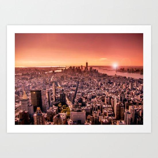 Manhattan in red Art Print