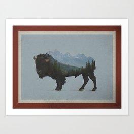 Wyoming Bison Flag Art Print