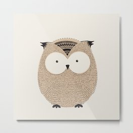 Owl Cute Woodland Animals Metal Print