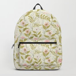 Blush and Cream Floral Climbing Pattern Backpack