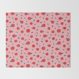Red Roses Valentines Pattern Throw Blanket